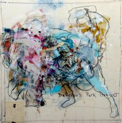 Porkparty, gestural abstraction w figure, energy