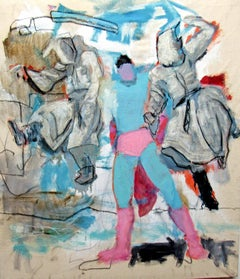 Untitled #7, mixed media, figurative, gestural abstract, superhero, light colors