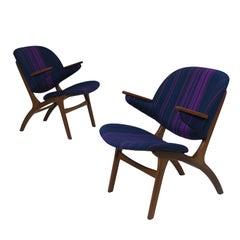 Carl Edward Matthes Danish Teak Lounge Chairs, a Pair