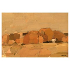 Carl-Eric Bodén (1909-2003), Modernist Landscape, Oil on Board