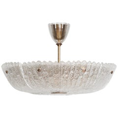 Carl Fagerlund Ceiling Lamp in Glass and Brass Produced by Orrefors in Sweden