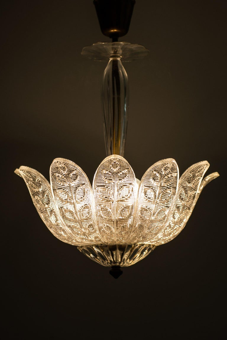 Swedish Carl Fagerlund Ceiling Lamp Produced by Orrefors in Sweden For Sale