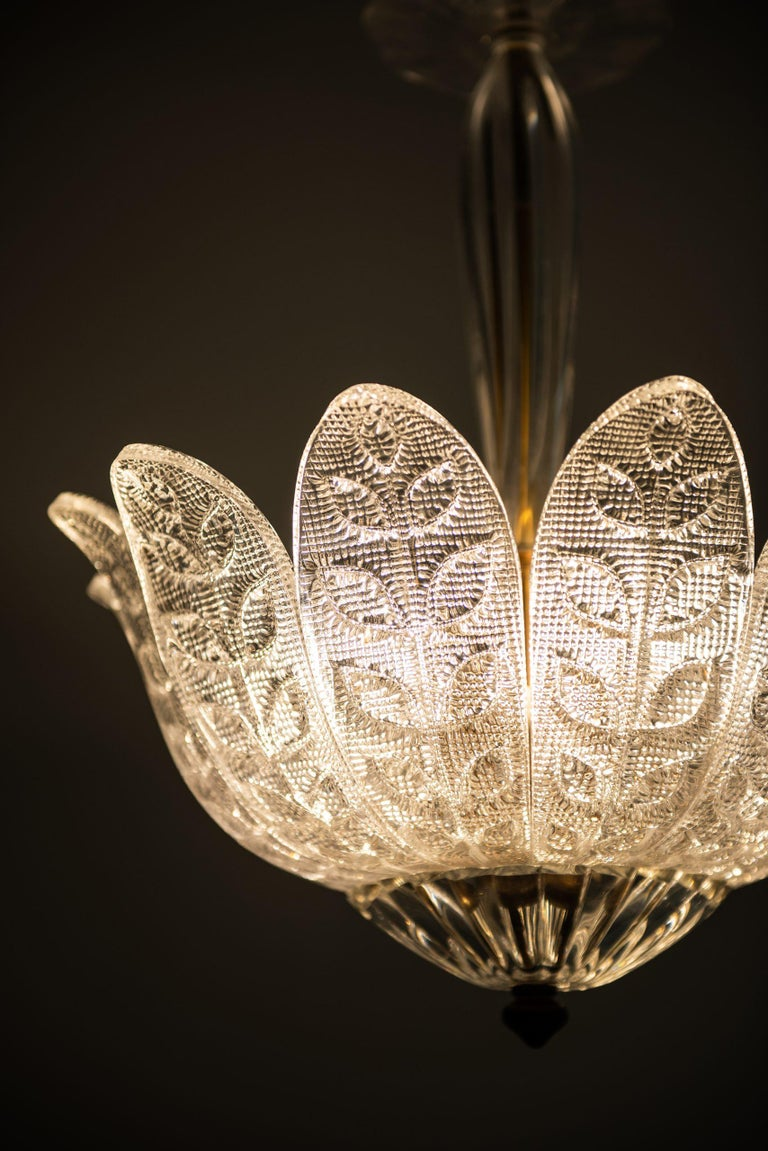Mid-20th Century Carl Fagerlund Ceiling Lamp Produced by Orrefors in Sweden For Sale