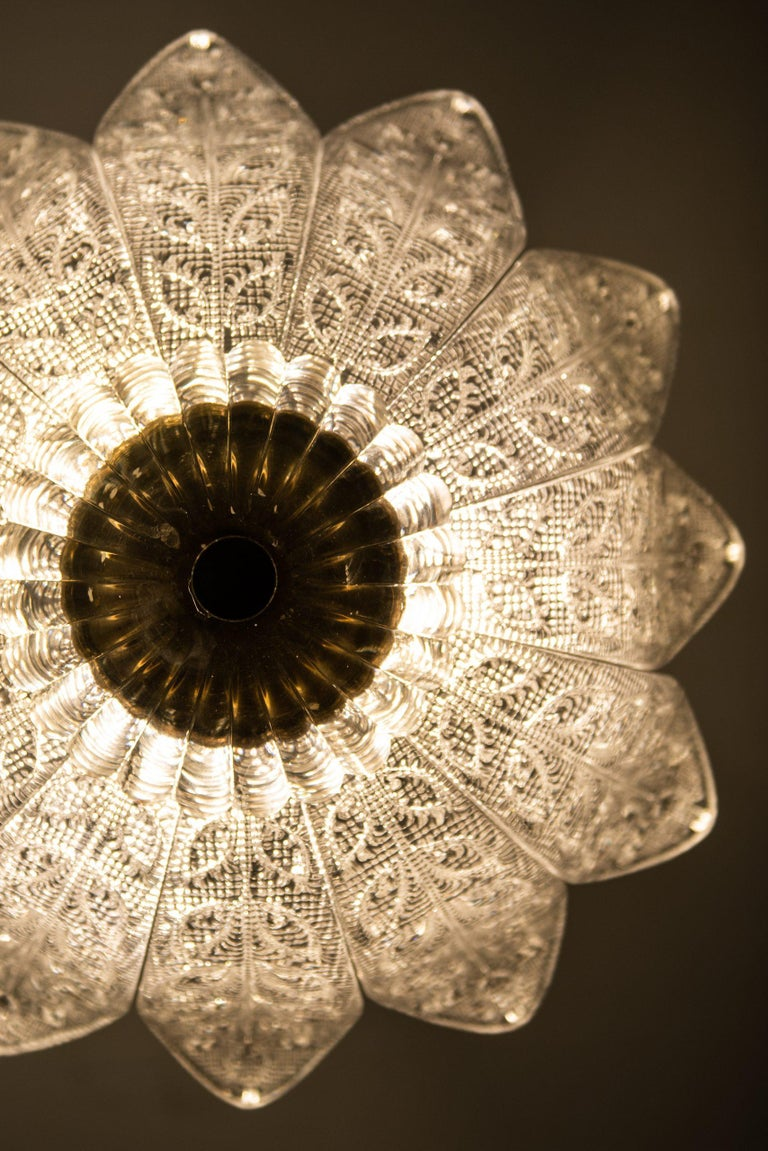 Brass Carl Fagerlund Ceiling Lamp Produced by Orrefors in Sweden For Sale