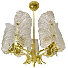 Carl Fagerlund mid-century Chandelier by Orrefors Murano Glass ,1970