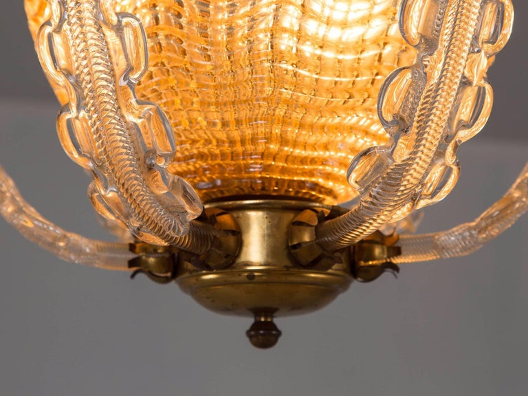 Mid-Century Modern Carl Fagerlund Chandelier in Brass and Glass For Sale