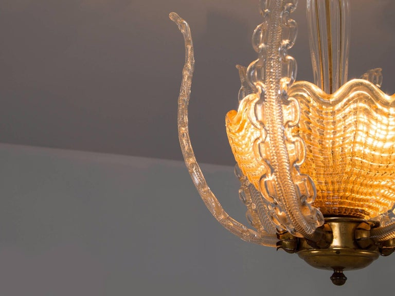Carl Fagerlund Chandelier in Brass and Glass In Good Condition For Sale In Waalwijk, NL