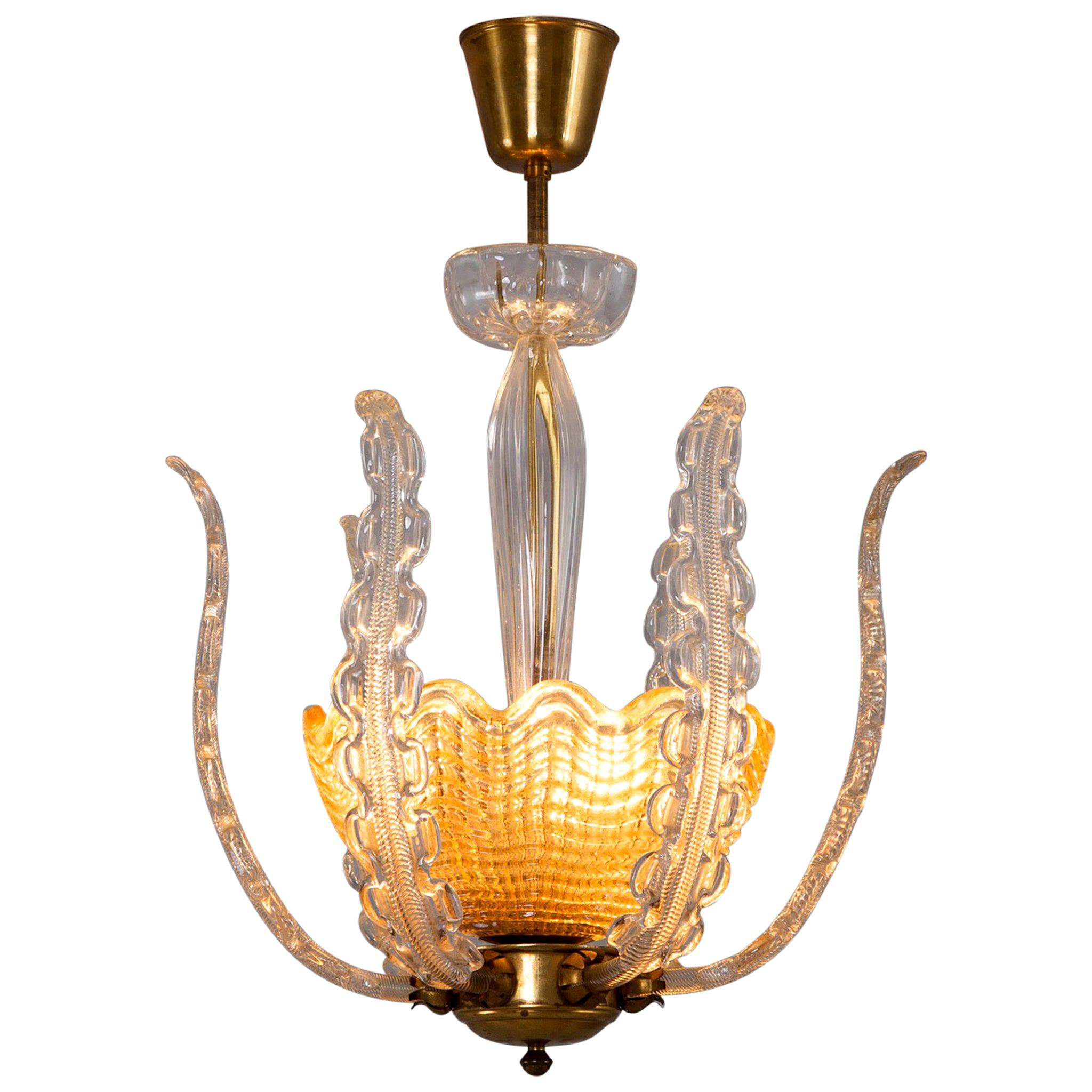 Carl Fagerlund Chandelier in Brass and Glass