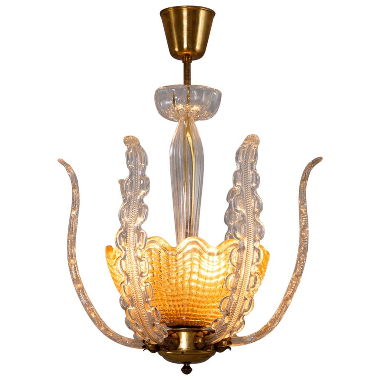 Carl Fagerlund Chandelier in Brass and Glass For Sale