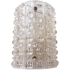 Carl Fagerlund Crystal and Brass Wall Sconce, Orrefors, 1950s