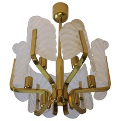 Carl Fagerlund for Orrefors Brass Chandelier with Glass Acanthus Leaves