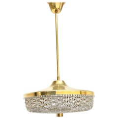 Carl Fagerlund for Orrefors Brass & Glass Chandelier Pendant Lamp, Sweden, 1960s
