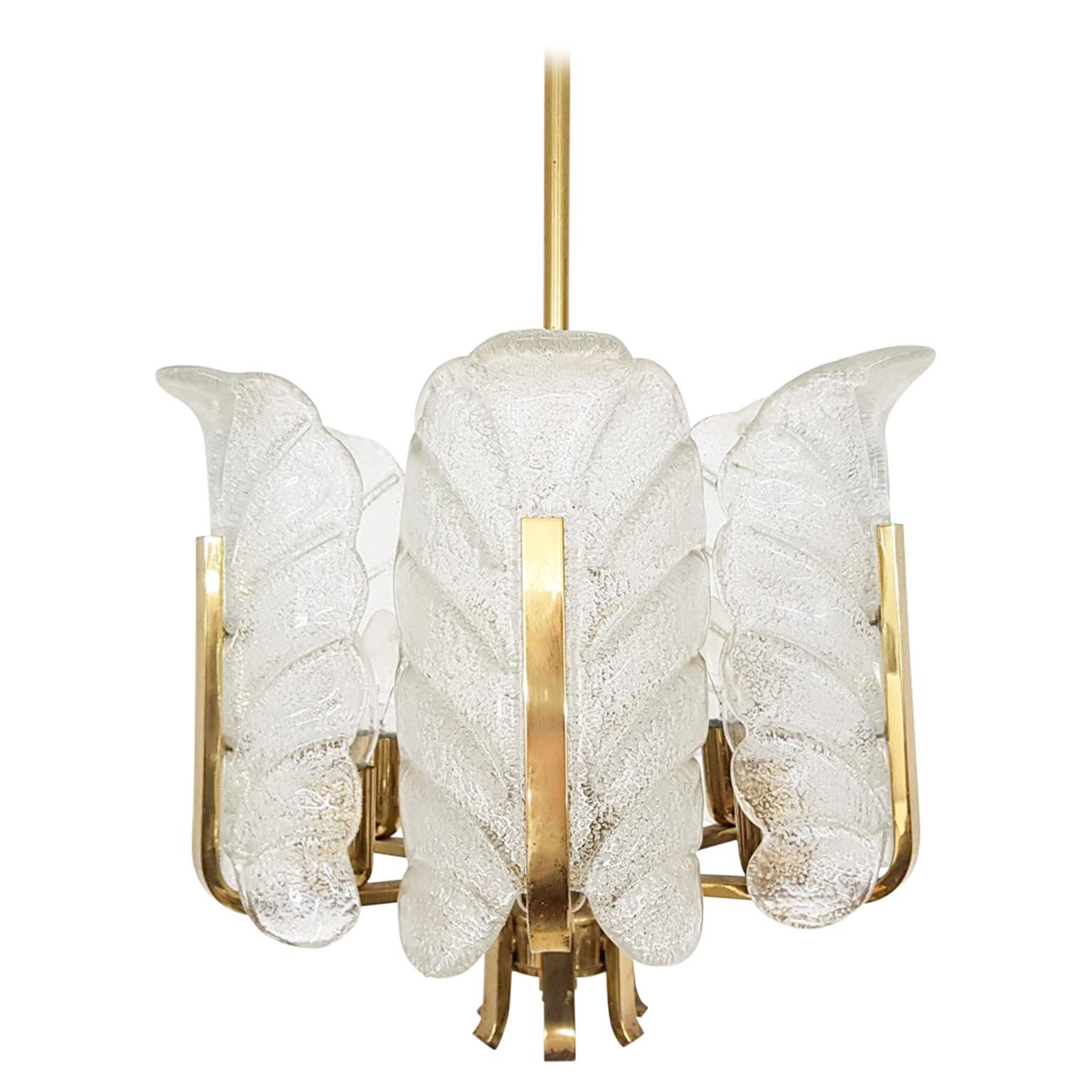Carl Fagerlund for Orrefors Chandelier in Glass and Brass, Sweden, 1960s