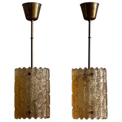Carl Fagerlund Glass and Brass Pendants by Orrefors, Sweden, 1960s