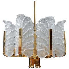 Carl Fagerlund Glass Leave Brass Chandelier by Orrefors