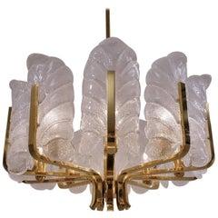 Carl Fagerlund Orrefors Chandelier Glass Leaves and Brass, Ten-Light