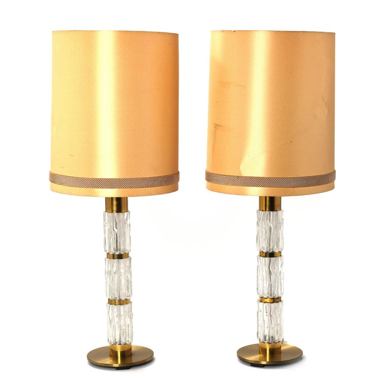 Swedish Carl Fagerlund Pair of Brass and Crystal Glass Table-Lamps by Orrefors 1960-1970 For Sale