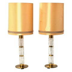 Carl Fagerlund Pair of Brass and Crystal Glass Table-Lamps by Orrefors 1960-1970