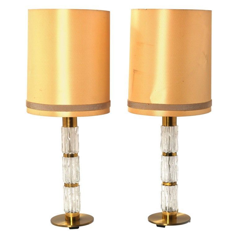 Carl Fagerlund Pair of Brass and Crystal Glass Table-Lamps by Orrefors 1960-1970 For Sale