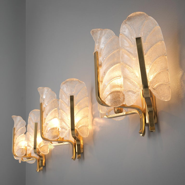 Mid-Century Modern Carl Fagerlund Six Wall Lights in Brass and Structured Glass For Sale