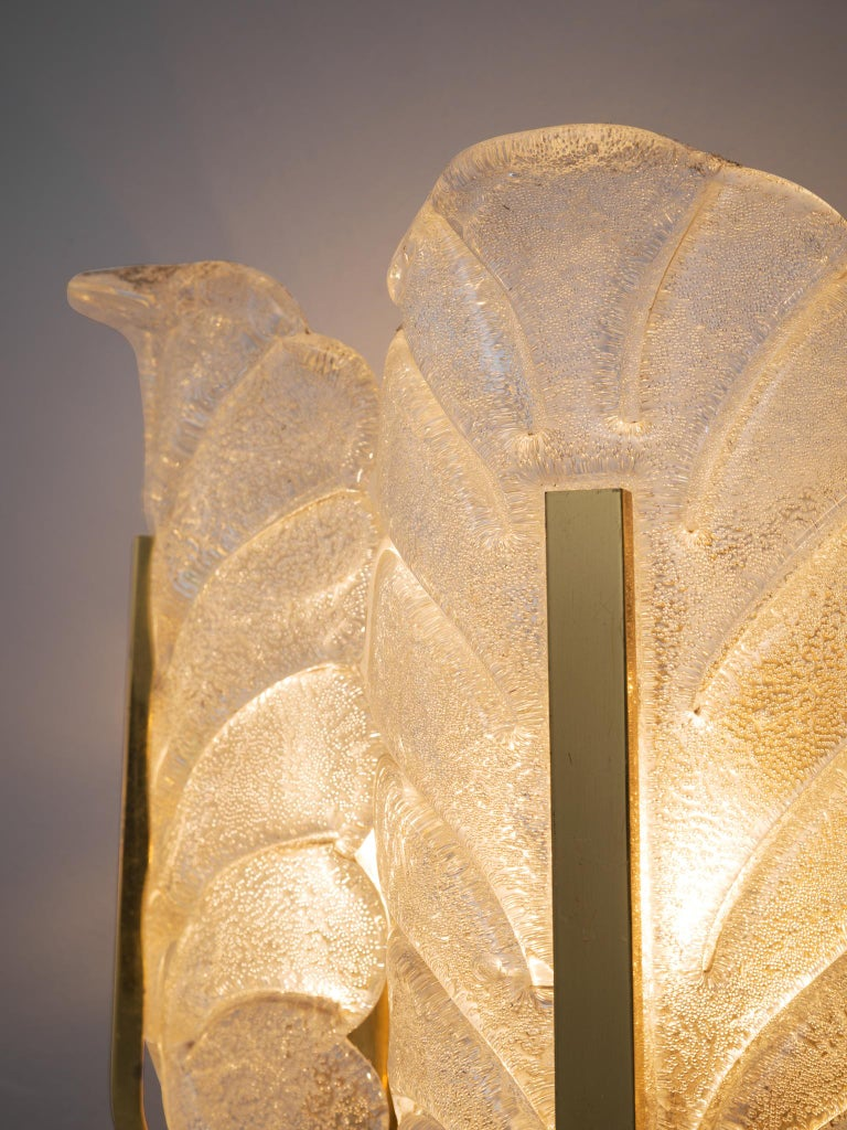 Late 20th Century Carl Fagerlund Six Wall Lights in Brass and Structured Glass For Sale