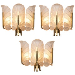 Carl Fagerlund Six Wall Lights in Brass and Structured Glass