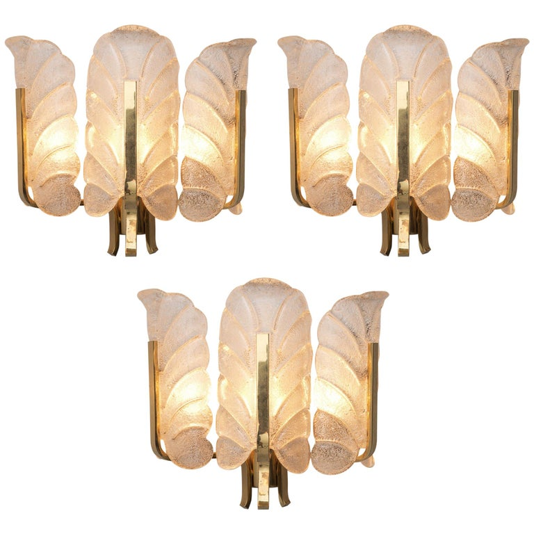 Carl Fagerlund Six Wall Lights in Brass and Structured Glass For Sale