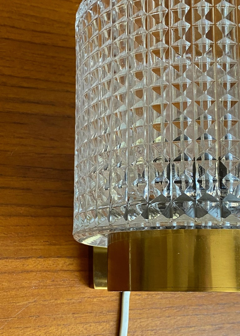 Mid-20th Century Carl Fagerlund, Wall Lights, Glass, Brass, Orrefors, Sweden, 1950s For Sale