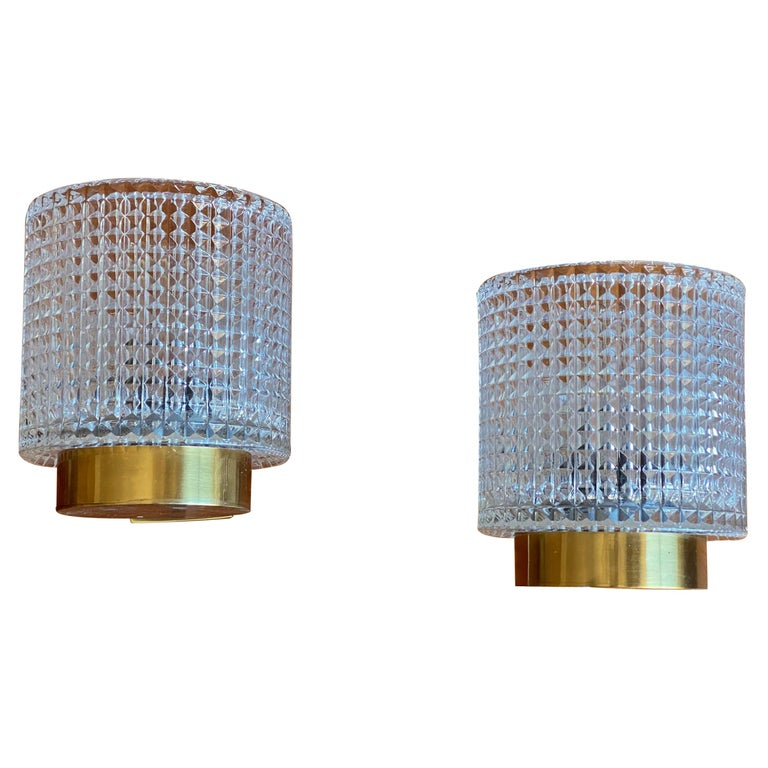 Carl Fagerlund, Wall Lights, Glass, Brass, Orrefors, Sweden, 1950s For Sale