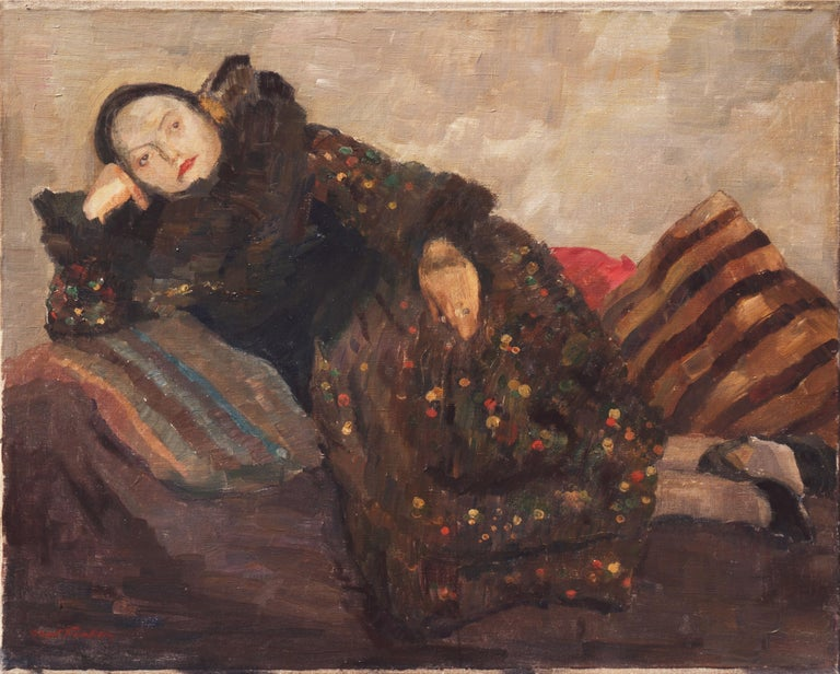 Post Impressionist Figural, 'Woman Reclining', Benezit and Thieme-Becker For Sale 1