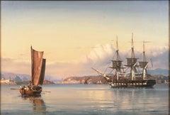 A Three-Masted Frigate Becalmed Off Capri   (Danish, Coast, Landscape, Marine)