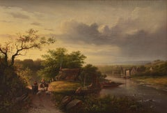 Mountain landscape with river and passers-by - Oil Canvas Romantic Panoramic