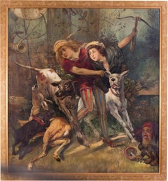 Large 19th Century German oil figurative painting of a deer hunt