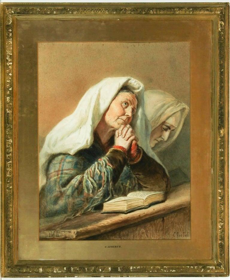 Carl Goebel (1824-1899) - Signed & Framed Austrian Watercolour, Nuns at Prayer