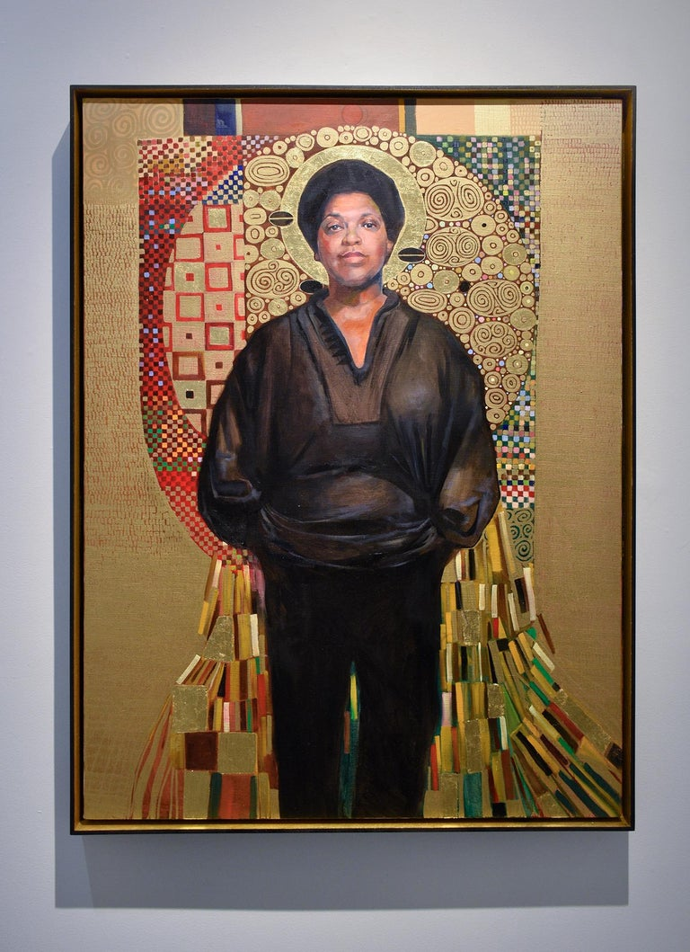 Audre Lorde (Gustav Klimt Inspired Figurative Painting of LGBTQ Icon, Framed) For Sale 1