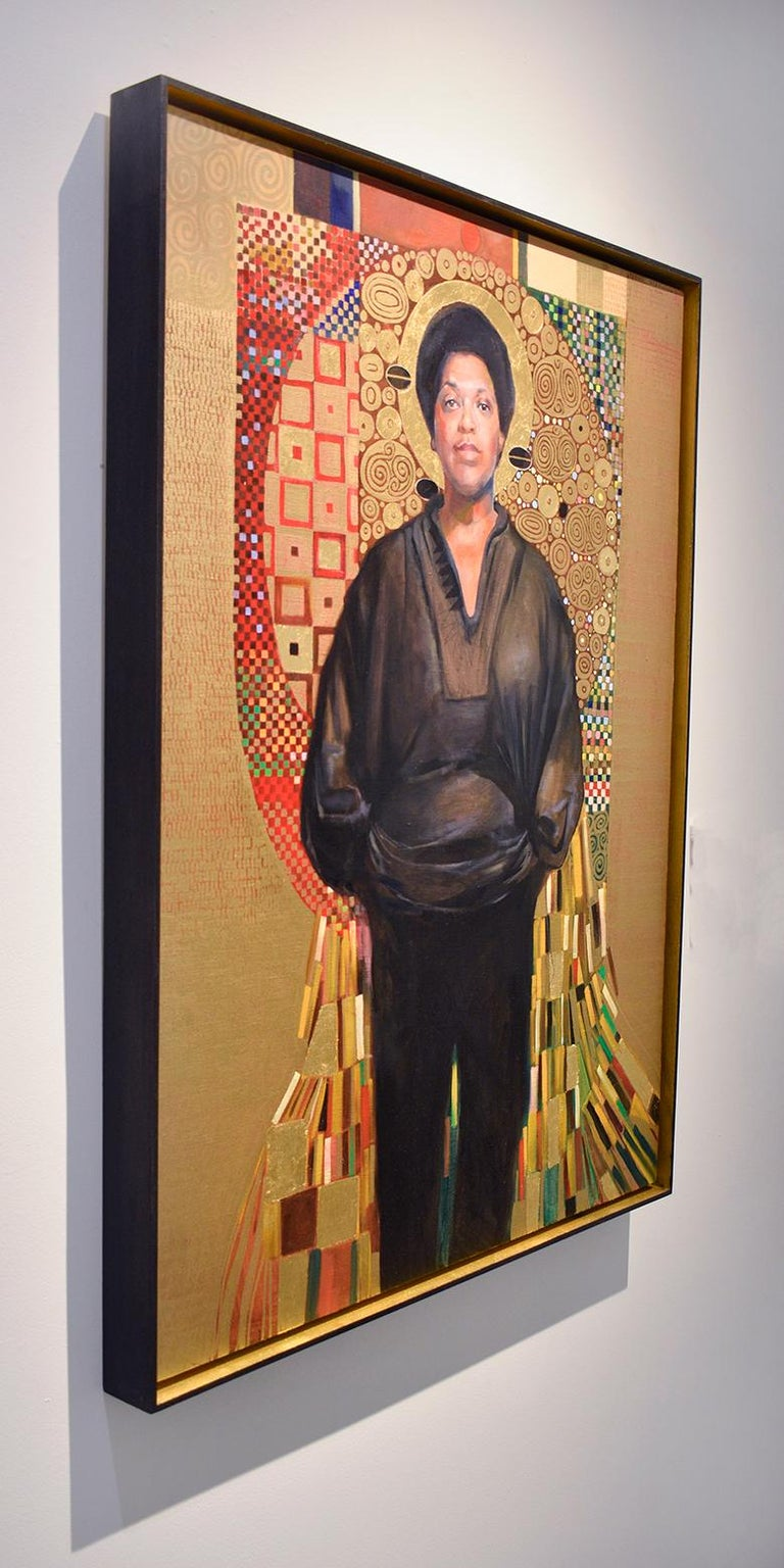 Audre Lorde (Gustav Klimt Inspired Figurative Painting of LGBTQ Icon, Framed) For Sale 2