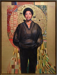 Audre Lorde (Gustav Klimt Inspired Figurative Painting of LGBTQ Icon, Framed)