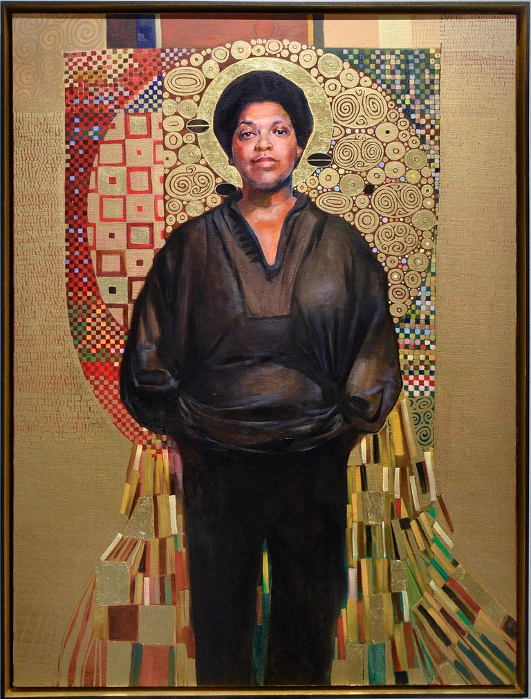 """Portrait painting of LGBTQ icon, Audre Lorde Entitled: """"Audre Lorde (Black, Lesbian, Mother, Warrior, Poet)"""" Painted by Carl Grauer in 2018 Oil and gold leaf on canvas 40 x 30 inches, 41.5 x 31.5 inches in black frame with gold painted interior"""