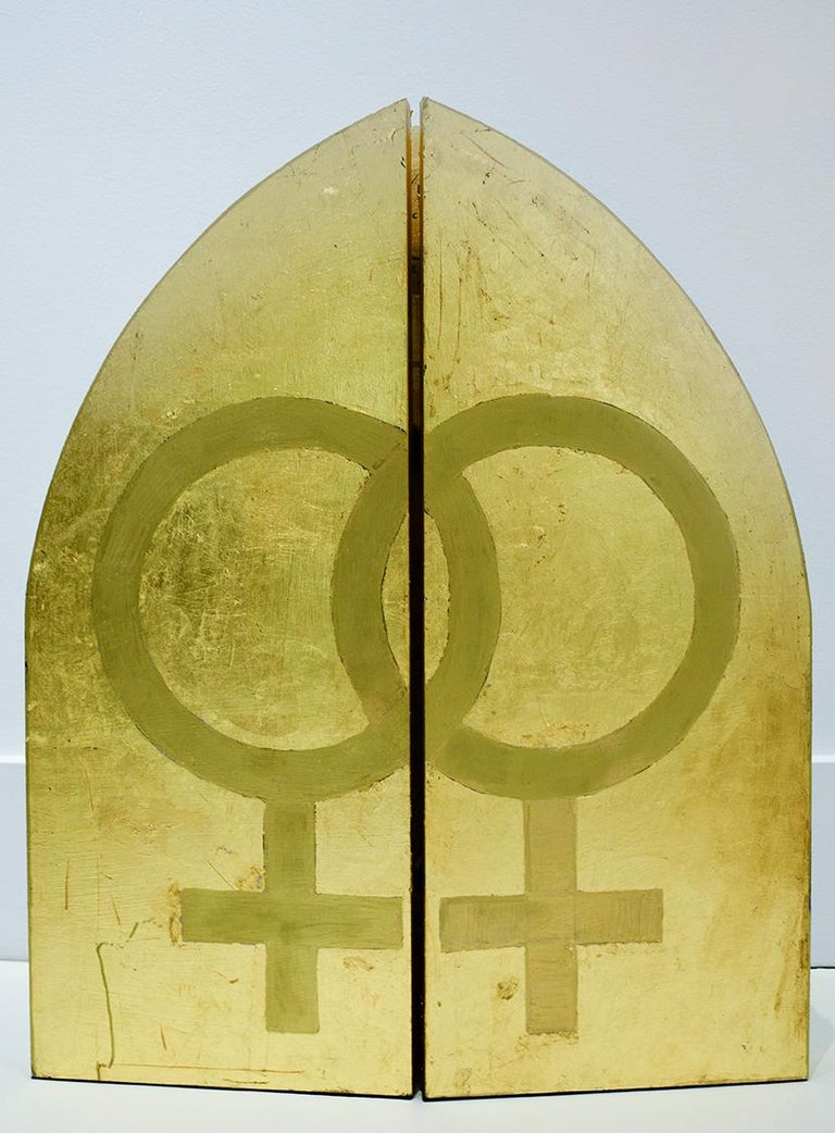 Barbara Gittings (Figuartive Painting of LGBTQ Icon in Gold Triptych Frame) For Sale 4