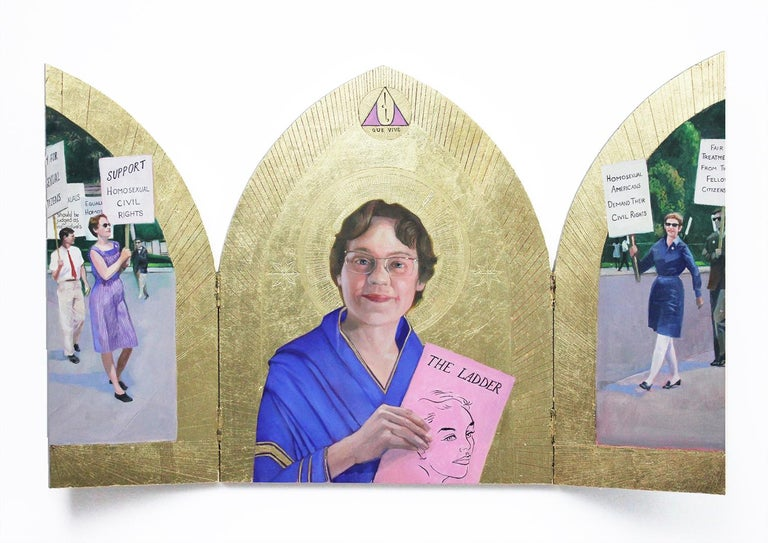 Carl Grauer Portrait Painting - Barbara Gittings (Figuartive Painting of LGBTQ Icon in Gold Triptych Frame)