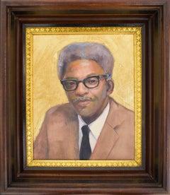 Bayard Rustin (Portrait Painting of LGBTQ Icon with Gold Leaf & Wood Frame)