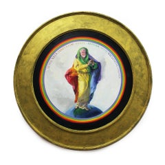 Gilbert Baker (Figurative Portrait Painting of LGBTQ Icon in a Circular Frame)