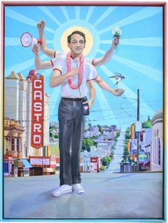 Harvey Milk (Figuartive Painting of LGBTQ Icon Harvey Milk in Rainbow Frame)