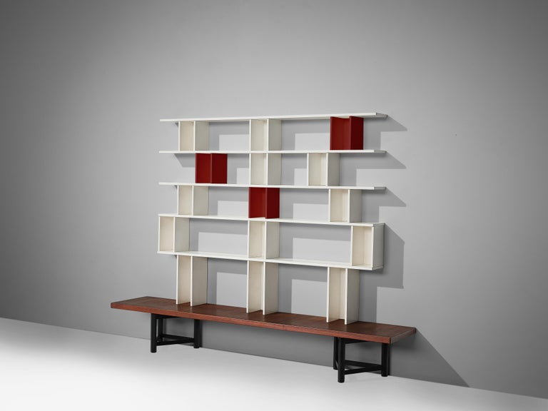 Carl Gustaf Hiort af Ornäs fot Huonekalu Mikko Nupponen, 'Välipala' bookcase, teak, wood, Finland, 1950s.  This bookcase is designed by the Finnish designer Carl Gustaf Hiort. The bookcase is built of several wooden elements in different colors,