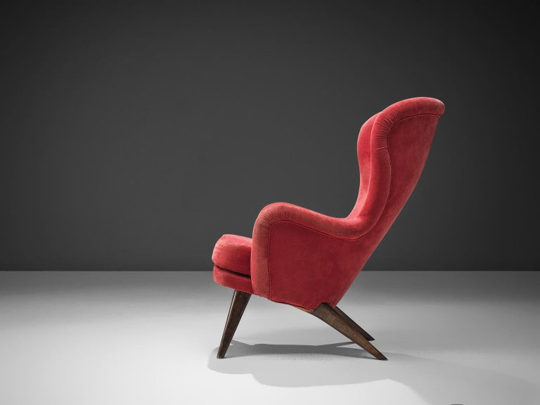 Scandinavian Modern Carl Gustaf Hiort Red 'Siesta' Lounge Chair For Sale
