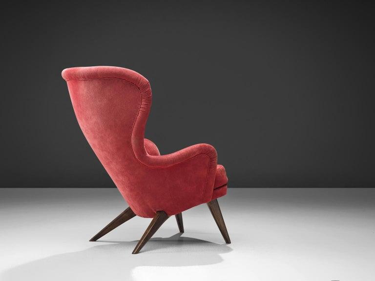 Finnish Carl Gustaf Hiort Red 'Siesta' Lounge Chair For Sale