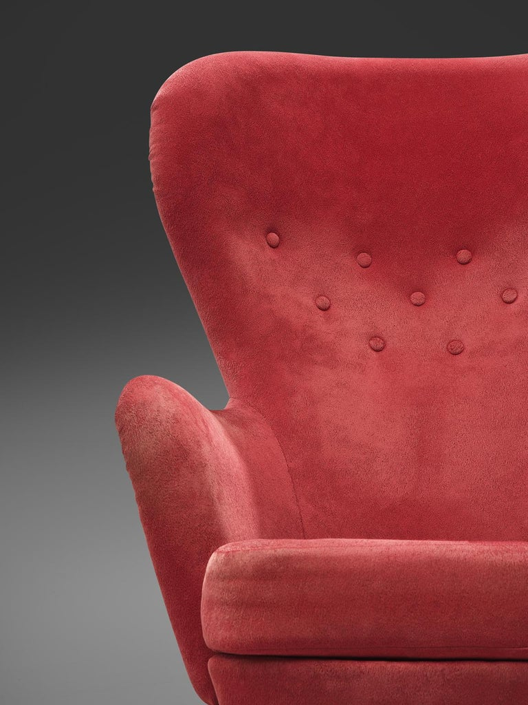 Mid-20th Century Carl Gustaf Hiort Red 'Siesta' Lounge Chair For Sale