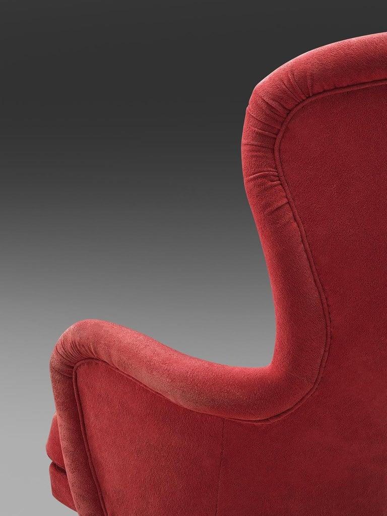 Fabric Carl Gustaf Hiort Red 'Siesta' Lounge Chair For Sale