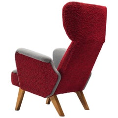 Carl Gustaf Hiort Wingback Chair in Red and Grey Upholstery