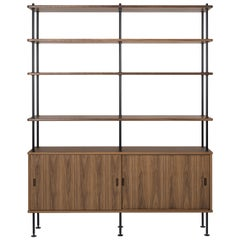 Carl Hansen BM0253-1 Shelf & Cabinet in Walnut with Steel Legs by Børge Mogensen